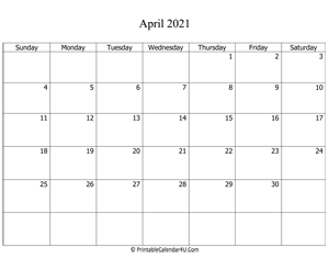 fillable 2021 calendar april