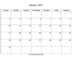 fillable 2021 calendar january