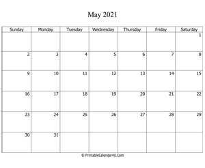 fillable 2021 calendar may