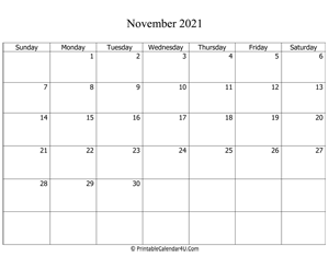 fillable 2021 calendar november