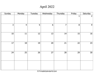 Free Printable Calendar April 2022.April 2022 Editable Calendar With Holidays