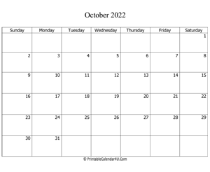 fillable 2022 calendar october