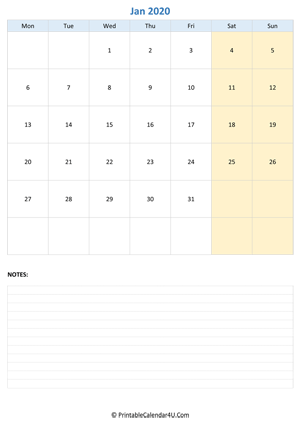 january 2020 calendar editable with notes vertical layout