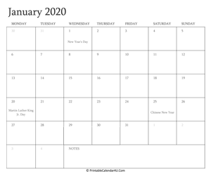 january 2020 calendar printable with holidays