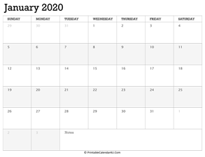 january 2020 calendar printable week starts on sunday
