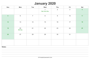 january 2020 calendar with us holidays and notes landscape layout