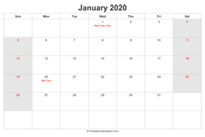 january 2020 calendar with us holidays highlighted landscape layout