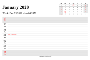 january 2020 weekly calendar with us holidays landscape layout