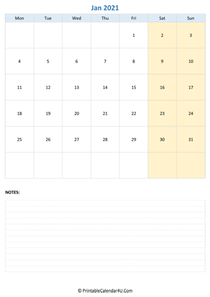 january 2021 calendar editable with notes vertical layout