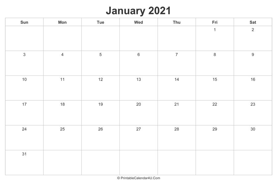 January 2021 Calendar Printable (Landscape Layout)