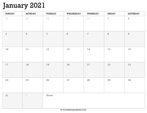 january 2021 calendar printable week starts on sunday
