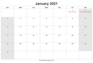 january 2021 calendar with uk bank holidays highlighted landscape layout