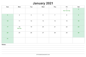 january 2021 calendar with us holidays and notes landscape layout