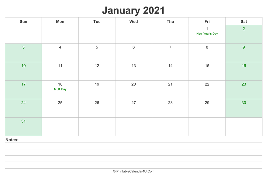 January 2021 Calendar with US Holidays and Notes ...