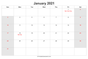 january 2021 calendar with us holidays highlighted landscape layout