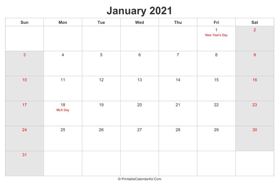 January 2021 Calendar with US Holidays highlighted ...