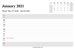 january 2021 weekly calendar with us holidays landscape layout