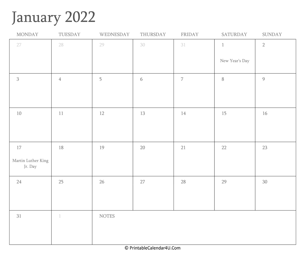 January 2022 Calendar Printable with Holidays