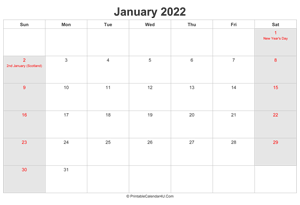 january 2022 calendar with uk bank holidays highlighted landscape layout