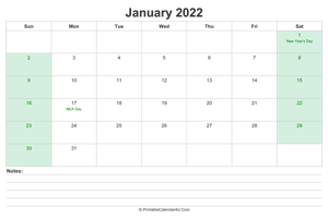 january 2022 calendar with us holidays and notes landscape layout