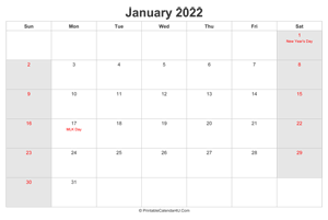 january 2022 calendar with us holidays highlighted landscape layout
