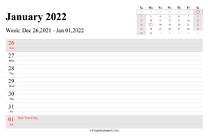 january 2022 weekly calendar with us holidays landscape layout