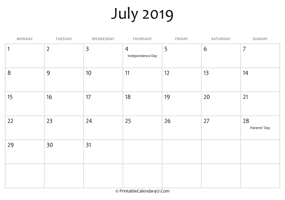 july 2019 editable calendar with holidays
