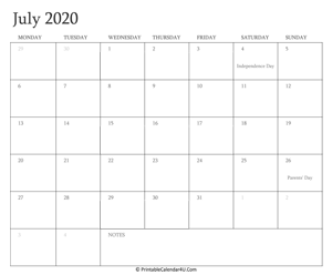 Printable Calendar July 2020.July 2020 Editable Calendar With Holidays
