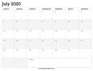 july 2020 calendar printable week starts on sunday