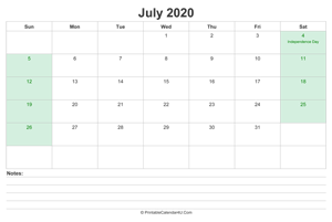 july 2020 calendar with us holidays and notes landscape layout