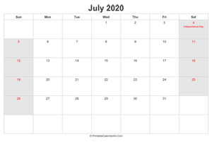 july 2020 calendar with us holidays highlighted landscape layout