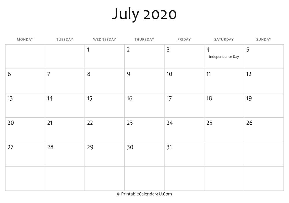 July 2020 Editable Calendar with Holidays