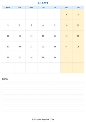 july 2021 calendar editable notes vertical layout