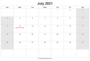 july 2021 calendar with uk bank holidays highlighted landscape layout