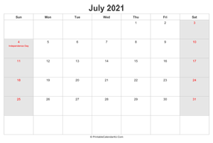 july 2021 calendar with us holidays highlighted landscape layout
