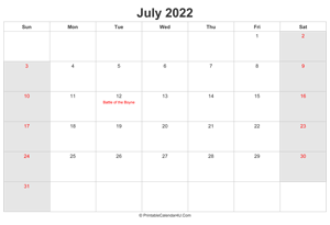 july 2022 calendar with uk bank holidays highlighted landscape layout