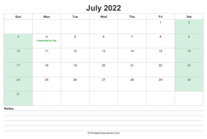 july 2022 calendar with us holidays and notes landscape layout