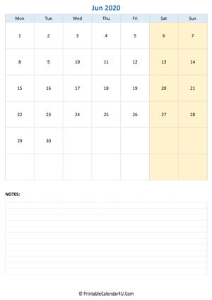 june 2020 calendar editable with notes vertical layout