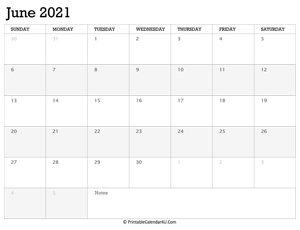 june 2021 calendar printable week starts on sunday
