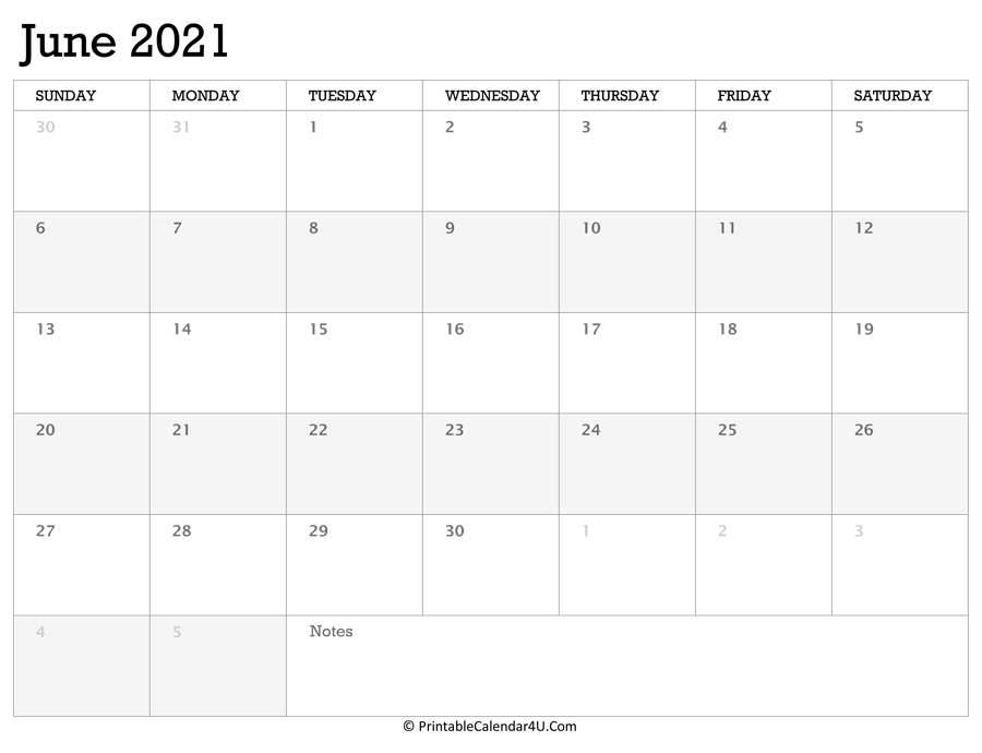 Printable Calendar June 2021 with Holidays