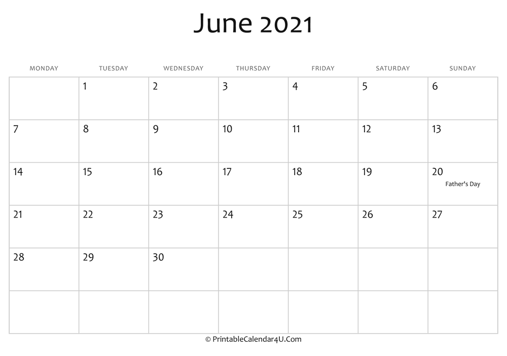 Editable Calendar Template 2021 June 2021 Editable Calendar with Holidays