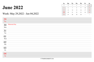 june 2022 weekly calendar with us holidays landscape layout