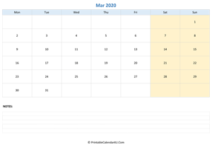 march 2020 calendar editable with notes horizontal layout