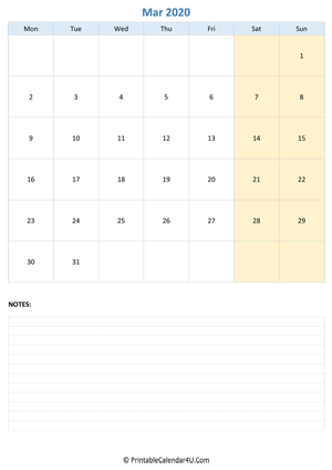 march 2020 calendar editable with notes vertical layout