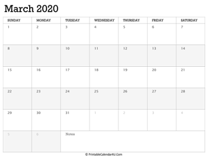 march 2020 calendar printable week starts on sunday