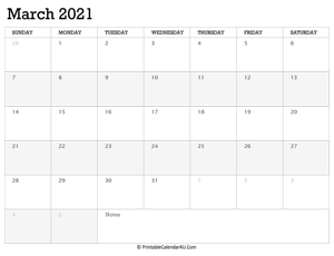 march 2021 calendar printable week starts on sunday