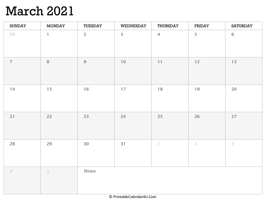 Printable Calendar March 2021 with Holidays