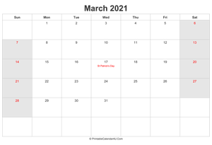 march 2021 calendar with uk bank holidays highlighted landscape layout