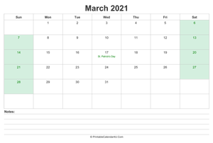 march 2021 calendar with us holidays and notes landscape layout