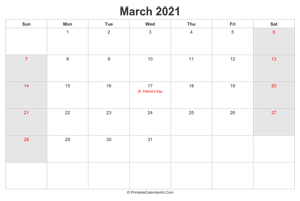 march 2021 calendar with us holidays highlighted landscape layout